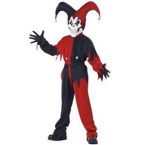 NEW Evil Jester Halloween Costume Boys Large 10-12